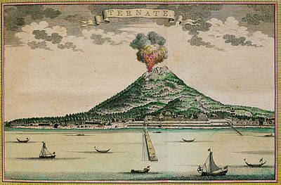 Mount Gamalama Volcano Erupting Art Print by George Bernard/science Photo Library