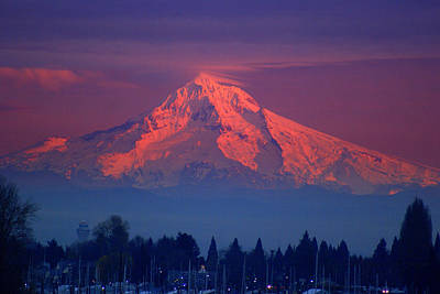 Mount Hood At Sunset Art Print by DerekTXFactor Creative