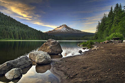 Scenic Photograph - Mount Hood At Trillium Lake Sunset by David Gn