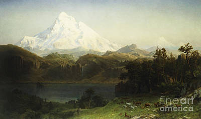 Albert Bierstadt Painting - Mount Hood In Oregon by Albert Bierstadt