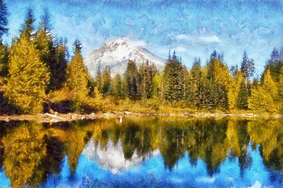 Mt Hood Digital Art - Mount Hood Mirror Lake by Kaylee Mason