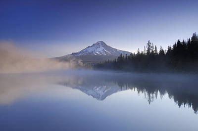 Tranquil Mountaintop Photograph - Mount Hood Reflected In A Foggy by Peter Carroll