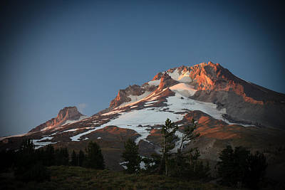 Mount Hood Summit In Warm Glow Art Print