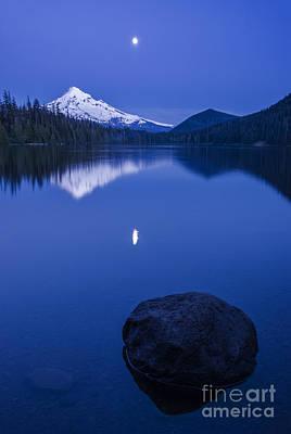 Moonlit Night Photograph - Mount Hood Under Moon Light by Vishwanath Bhat