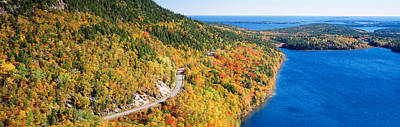 Maine Roads Photograph - Mount Jordan Pond, Acadia National by Panoramic Images