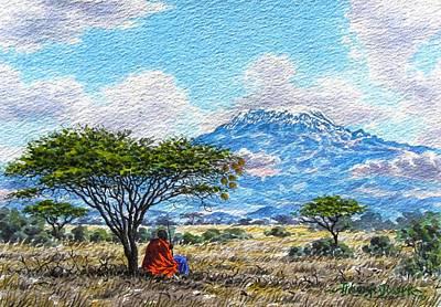 Masai Painting - Mount Kilimanjaro by Joseph Thiongo