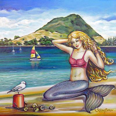 Large Painting - Mount Maunganui Beach Mermaid 160313 by Selena Boron
