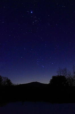 Mount Monadnock Photograph - Mount Monadnock Winter Night Sky by John Burk