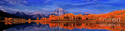 Art Print featuring the photograph Mount Moran And Fall Color Grand Tetons by Dave Welling