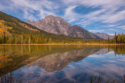 Photograph - Mount Moran Overlooking Leigh Lake In Autumn by Brenda Jacobs