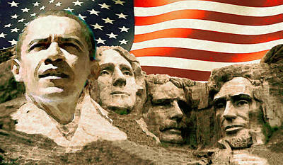 White House Mixed Media - Barack Obama Mount Rushmore by Art America Gallery Peter Potter