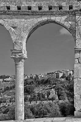 Photograph - Mount Of Olives From Termple Mount Jerusalem Israel Bw by Mark Fuller