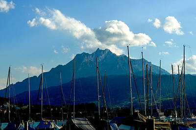 Photograph - Mount Pilatus And Sailboats On Lake Lucerne by Marilyn Burton