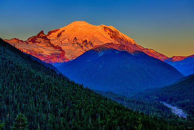 Photograph - Mount Rainier Alpenglow by Greg Norrell