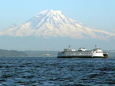 Mount Rainier And Ferry Art Print