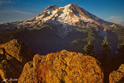 Art Print featuring the photograph Mount Rainier At Sunset With Big Boulders In Foreground by Jeff Goulden