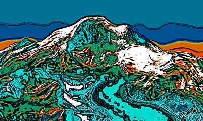 Surrealism Royalty-Free and Rights-Managed Images - Mount Rainier - Washington by David G Paul