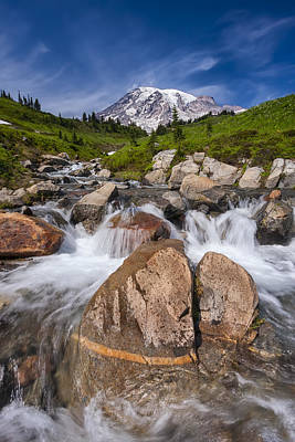 Photograph - Mount Rainier Glacial Flow by Adam Romanowicz
