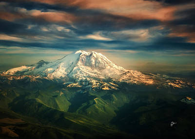 Photograph - Mount Rainier Greeting Card Size by TK Goforth