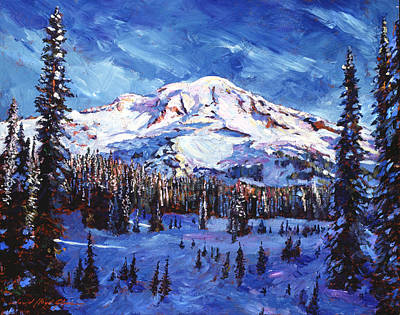 Snow Covered Trees Painting - Mount Rainier Impressions by David Lloyd Glover