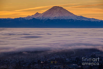 Skylines Royalty-Free and Rights-Managed Images - Mount Rainier Sunrise Mood by Mike Reid
