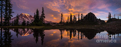 North Cascades Photograph - Mount Rainier Sunrise Reflection Glow by Mike Reid