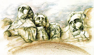Drawing - Mount Rushmore Monument - Fine Art by Peter Potter