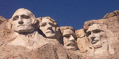 Drawing - Mount Rushmore American Presidents by Peter Potter