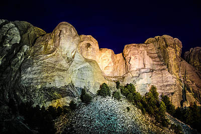 Photograph - Mount Rushmore At Night by Penny Lisowski