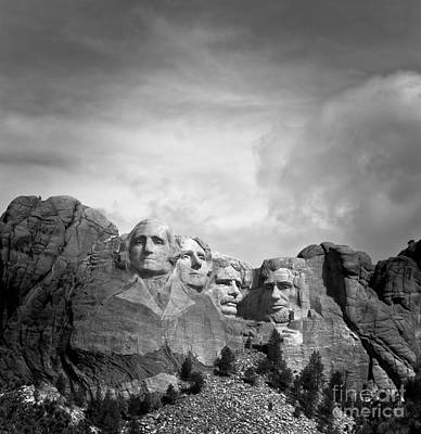 Photograph - Mount Rushmore Bw by Robert Frederick