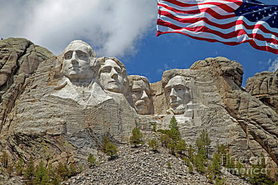 Photograph - Mount Rushmore Closeup With American Flag by John Stephens