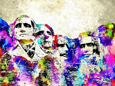 Lincoln Memorial Mixed Media - Mount Rushmore Grunge by Daniel Janda