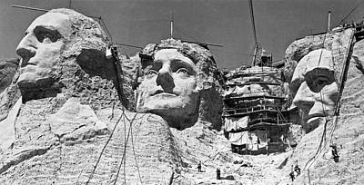 Progress Photograph - Mount Rushmore In South Dakota by Underwood Archives