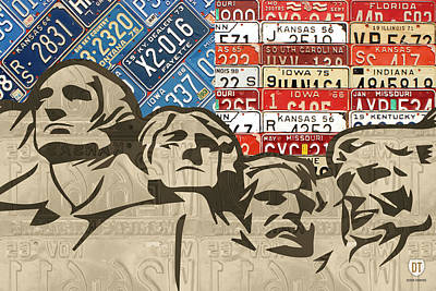 Handmade Mixed Media - Mount Rushmore Monument Vintage Recycled License Plate Art by Design Turnpike