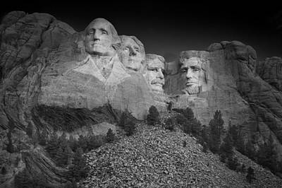 Mount Rushmore South Dakota Dawn  B W Print by Steve Gadomski