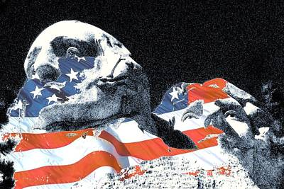 Digital Art - Mount Rushmore Stars And Stripes by Peter Potter