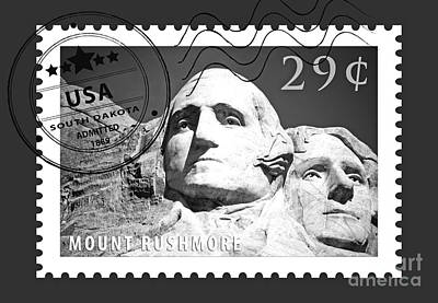 Digital Art - Mount Rushmore Washington And Jefferson South Dakota Black And White Stamp Themed Poster by Shawn O'Brien
