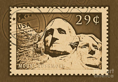 Digital Art - Mount Rushmore Washington And Jefferson South Dakota Rustic Stamp Themed Poster by Shawn O'Brien