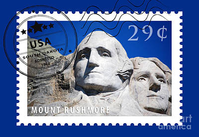 Digital Art - Mount Rushmore Washington And Jefferson South Dakota Stamp Themed Poster by Shawn O'Brien