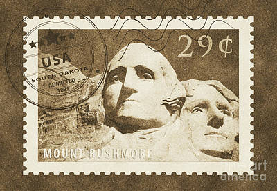 Digital Art - Mount Rushmore Washington And Jefferson South Dakota Vintage Stamp Themed Poster by Shawn O'Brien