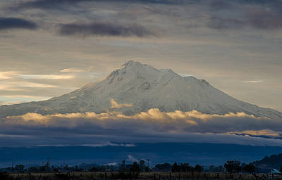 Photograph - Mount Shasta Autumnal Equinox by Loree Johnson