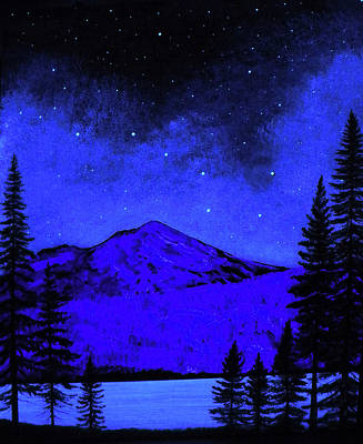 Glow In The Dark Painting - Mount Shasta In Starlight by Frank Wilson