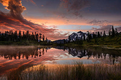 Mount Shuksan Fiery Sunrise Print by Dan Mihai