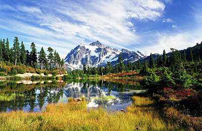 Cascade Mountains Snoqualmie National Forest Photograph - Mount Shuksan In Autumn by King Wu