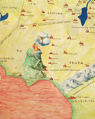 Holy Land Drawing - Mount Sinai And The Red Sea, From An Atlas Of The World In 33 Maps, Venice, 1st September 1553 Ink by Battista Agnese