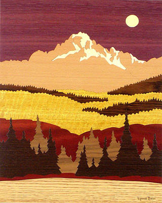 Marquetry Drawing - Mount Sneffles by Lynne Buss