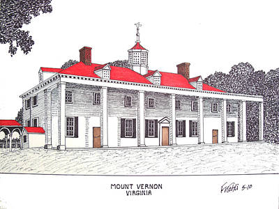 Pen And Ink Historic Buildings Drawings Drawing - Mount Vernon by Frederic Kohli