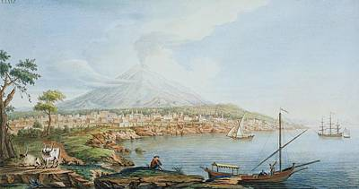 Coastal Landscape Drawing - Mount Vesuvius, Plate 36 From Campi by Pietro Fabris