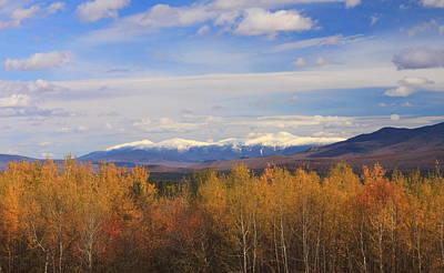 Autumn Foliage Photograph - Mount Washington And Presidential Range Snow Foliage by John Burk