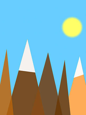Digital Art - Mountain And Sun by Celestial Images